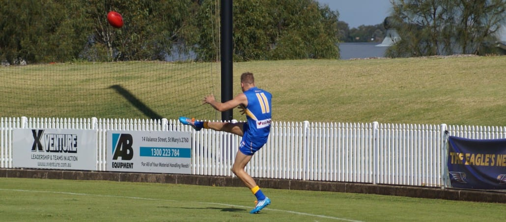 Trent Stubbs nails one of his five goals for the day.  Picture courtesy of Mark Spiteri.